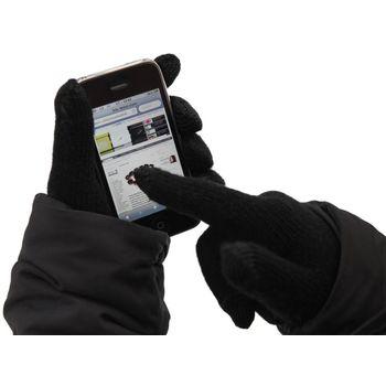 Zimní rukavice pro kapacitní displeje, vlněné, panské - černá